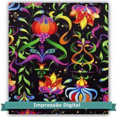Tecido Estampado para Patchwork - Digital Dreams Preto (0,50x1,40) 100% Algodão Fabricante: Atelie Serenissima