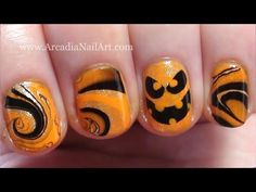 Easy Halloween Pumpkin Water Marble on Short Nails