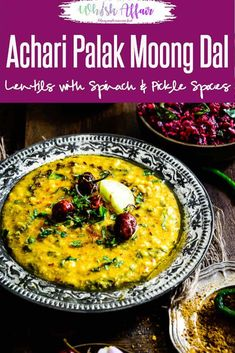 Achari Palak Moong Dal is a very healthy, nutritious and protein rich lentil curry with a unique flavour that goes well with rice,rotis. Gluten Free Indian Food, Healthy Indian Recipes, Asian Recipes, Lentil Recipes, Curry Recipes, Dal Palak Recipe, Vegetarian Snacks, Indian Dishes, Lentil Curry