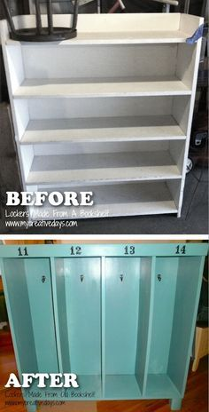 20 Creative Furniture Hacks — Turn an old bookshelf into a cute for the kids. Great for coats and backpacks! 20 Creative Furniture Hacks — Turn an old bookshelf into a cute for the kids. Great for coats and backpacks! Diy Furniture Hacks, Repurposed Furniture, Furniture Projects, Furniture Makeover, Antique Furniture, Refurbished Furniture, Furniture Stores, Homemade Furniture, Bedroom Furniture