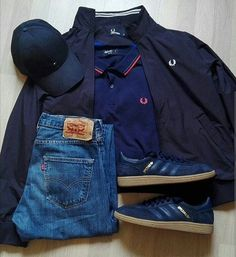 Away days - navy Spezials and Fred Perry