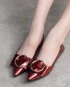 CW74260 Spring flat all-match bow round buckle shoes for women