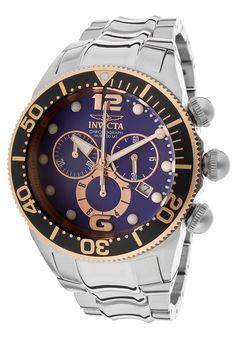 Invicta Men's Lupah Chrono Silver-Tone SS Blue Dial - Watch 14203,    #Invicta,    #14203,    #WatchesDressQuartz