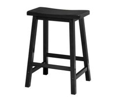 Contemporary Saddle Seat 24' wood counter height stools in black finish. Solid wood construction of natural hardwood.  Ships ready to assemble with all hardware and tools included.  This new style seat is comfortable and sleek.