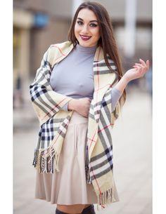 Fusta clos cu buzunare Plaid Scarf, Scarves, Fashion, Scarfs, Moda, Fashion Styles, Fashion Illustrations