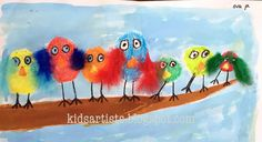 Made by a student of grade 1    You need:   liquid water color paint  brushes  crayons  white sheet  feathers  glue    Draw a branch with...