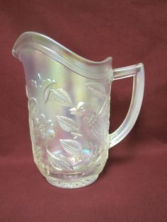 "Imperial White Carnival Glass Singing Bird - Robin - Pitcher - 8 1/2"" #ImperialWhiteCarnivalGlass"