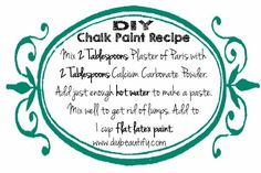 If you're interested in mixing larger quantities, here is my regular DIY chalk paint recipe