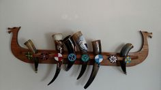 Viking ship drinking horn holder designed and built by my fiance. Eight holder spits in all