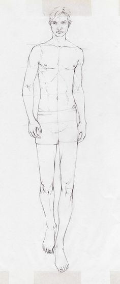 Pencil drawing copying the practice sheet before starting on men on catwalks.   Christina Voss