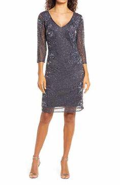 Beaded Mesh Column Gown   Nordstrom Vintage 20s Dresses, 1920s Fashion Dresses, Flapper Dresses, Dress Fashion, Cabaret, Sequin Formal Dress, Formal Dresses, V Neck Cocktail Dress, Komplette Outfits