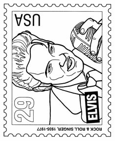postage stamp coloring pages featured people elvis presley