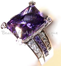 Beauty for Ashes® Royal Amethyst Purple Wedding Princess Cz Cocktail Party Ring in Jewelry & Watches, Fashion Jewelry, Rings Purple Rings, Purple Jewelry, Amethyst Jewelry, Purple Wedding Rings, Wedding Band, Wedding Tips, Silver Jewelry, Do It Yourself Jewelry, The Violet