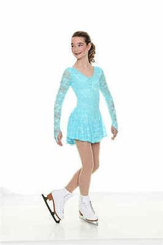 New Figure Skating Dress CL 10 12 12 Twizzle Turquoise Lace Lined | eBay