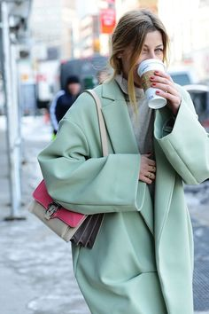 That green big coat is a musthave for this winter season. It's easy to match and also It's so comfortable.  @thecoveteur