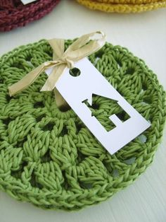 Crochet coasters & love the gift tag