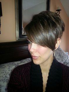 Pixie cut, long bangs. Shorter this time