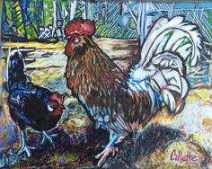 Handsome couple of clucks Color pencil Sold