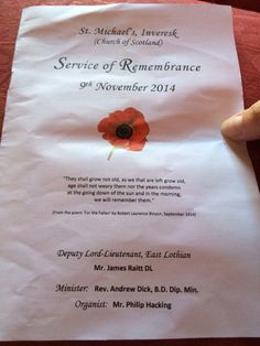 Today's order of service