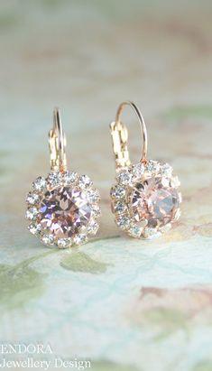 Blush earringsblush bridal earringsblush by EndoraJewellery