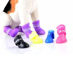 4Pcs/ Lot Dog Shoes Dog Candy Colors Boots Waterproof Rubber Pet Rain Shoes Booties #>=#>=#>=#>=#> Click on the pin to check out discount price, color, size, shipping, etc. Save and like it!