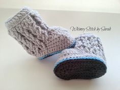 Cable Boots  012 Month available  You pick by Whimsystitchbysarah, $25.00