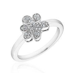 Sterling Silver ASPCA Tender Voices Diamond Paw Print Ring 1/15ctw   eBay, $99.95