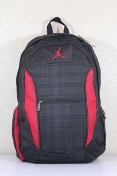 NIKE JORDAN Men s Backpack Black red Laptop compartment 19.5