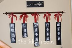 family picture wall hanging--great gift idea for grandparents or us now that Nana is living here! Family Pictures On Wall, Display Family Photos, Display Pictures, Display Ideas, Photo Wall Hanging, Hanging Pictures, Family Tree Wall, Tree Wall Art, Photo Craft