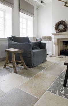 Belgian Tones | Dutch | Interiors | living room | fireplace | Burgundy Flagstone Floors