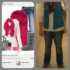 Puffy Vest-New York & Co. White Tissue T-Target Jeans-Gap Outlet Scarf-T.J. Maxx Uggs