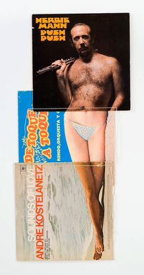"""Christian Marclay, Push Push (from the series """"Body Mix"""") (1991), Three record covers and thread"""