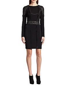 EMILIO PUCCI Leather & Jersey Lace-Up Detail Dress. #emiliopucci #cloth #dress