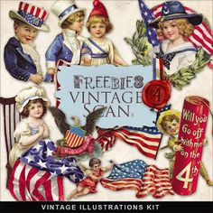 Freebies Vintage Illustrations Kit:Far Far Hill - Free database of digital illustrations and papers Fourth Of July Decor, 4th Of July Decorations, 4th Of July Party, July 4th, Patriotic Party, Patriotic Crafts, July Crafts, Summer Crafts, Vintage Greeting Cards