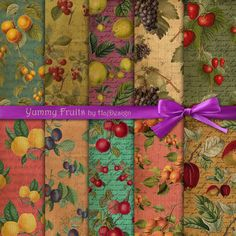 YUMMY FRUITS - Digital Collage Sheet Vintage Paper Scrapbook Paper Decoupage Paper Digital Background
