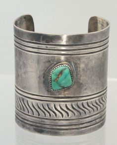 "Vintage Navajo 2 1/2"" Wide Turquoise Sterling Silver Stamped Cuff Bracelet"