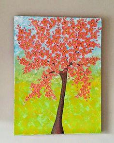 cherry blossom tree painting textured wall art by ArtbyRangrez  #Cherryblossomtree #cherrryBlossompainting #Texturedpainting #Landscape #Flowertree #treepainting #Treewallart