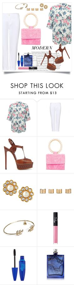 """""""Sem título #365"""" by caroolnunees ❤ liked on Polyvore featuring Envi, M&Co, J Brand, Casadei, Chanel, Kate Spade, Maison Margiela, Vera Bradley, NARS Cosmetics and Maybelline"""