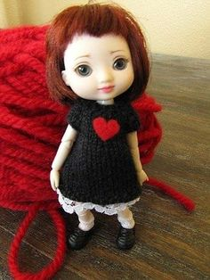 "Amelia Thimble Knitted Dress 4"" Doll Clothing 1 12 Scale Valentines Outfit BJD 