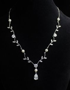 Bridal Pearl and Crystal Vine Necklace by JamJewels1