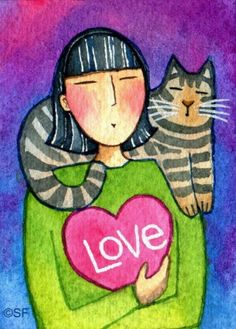 Tabby Love Cat Lady Art...Original ACEO Watercolor Painting by Susan Faye