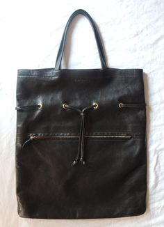 ROCHAS BLACK LEATHER DRAWSTRING ZIPPER TOTE BAG  on www.fullcirclefashion.com #ROCHAS #bags