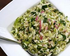 Alice Waters' Coleslaw, no mayonnaise, bright with lime and cilantro. Vegan, low-carb, gluten-free, Weight Watchers PointsPlus 1. KitchenParade.com.