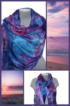 Hand-painted silk scarf in shades of blue, pink, violet, The silk scarf is perfect for year-round wear and makes a great luxury gift for someone you love or a much-deserved treat for yourself! Indulge with luxurious unique silk scarves for yourself or as a gift - birthday gifts, Valentine's day, anniversary, wedding. #valentinesday #accessories #shawl #purple #anniversary #blue #bohosilkscarf #bohosilkshawl #bluepinksilkscarf #handpaintedsilk