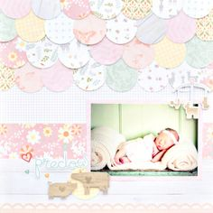 Scrapbook Layout Baby Circles - Baby Girl Scrapbook Layout Using the Custom Cutting System Circle Scrapbook, Scrapbook Bebe, Baby Girl Scrapbook, Paper Bag Scrapbook, Baby Scrapbook Pages, Scrapbook Titles, Scrapbook Page Layouts, Scrapbook Supplies, Friend Scrapbook