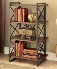 Look at this #zulilyfind! Medium Weathered Oak Loper Industrial Four-Tier Display Shelf #zulilyfinds