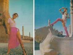 In December 10 years before the Islamic Revolution, the fashion photographer Henry Clarke took a series of photos in Iran, from Shiraz to Isfahan and Tehran. Old Fashioned Photos, Shiraz Iran, Iranian Women Fashion, Fashion Women, Vogue Us, Old Magazines, Historical Pictures, Photos Du, Jimi Hendrix
