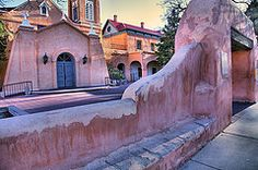 New Mexico Art - Adobe Wall and Felipe de Neri Church  by Steven Ainsworth
