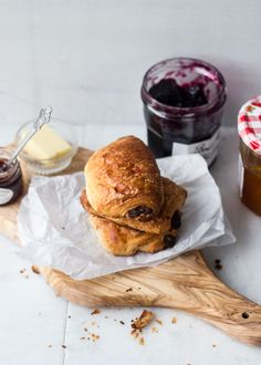 Perfect french breakfast: pain au chocolat, jam and a cup of coffee !