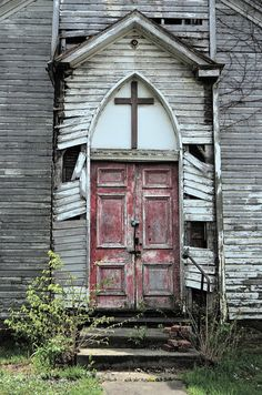 I'm sure many parishioners passed through these doors when the red paint was still fresh. Located in Frederick County, MD.
